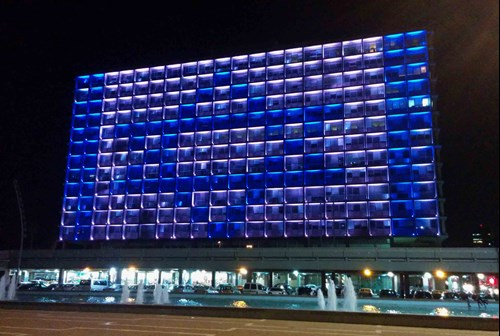 Illuminated Tel Aviv-Jaffa Municipality Building